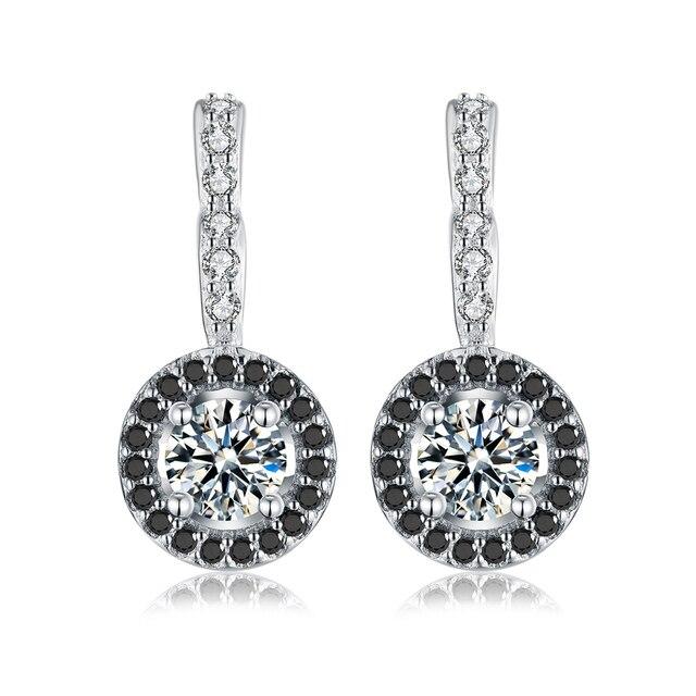 Cổ điển Chính Hãng 925 Sterling Silver Engagement Hoop Bông Tai cho Phụ Nữ với Black & White Stone Đồ Trang Sức Bijoux T001