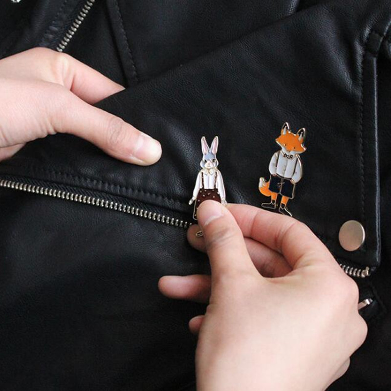Timlee X297 Envío gratis Cartoon Cute Cats Rabbits Foxes Metal - Bisutería - foto 3