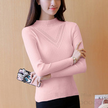 polo neck sheath solid women's sweaters and pullovers bodycon knitted shirt turtleneck jumper geometric pattern fashion warm 908