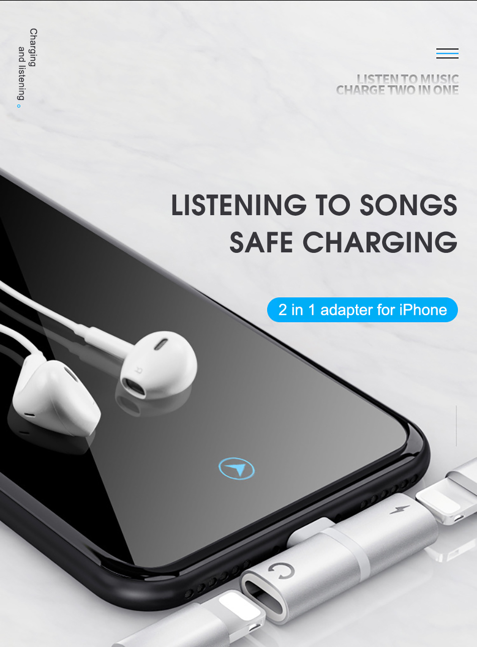 !ACCEZZ 3 IN 1 Earphone Audio Adapter For iphone  X 8 7 Plus XS MAX XR Fast Charge Listening Adapter Dual Lighting AUX Splitter (1)