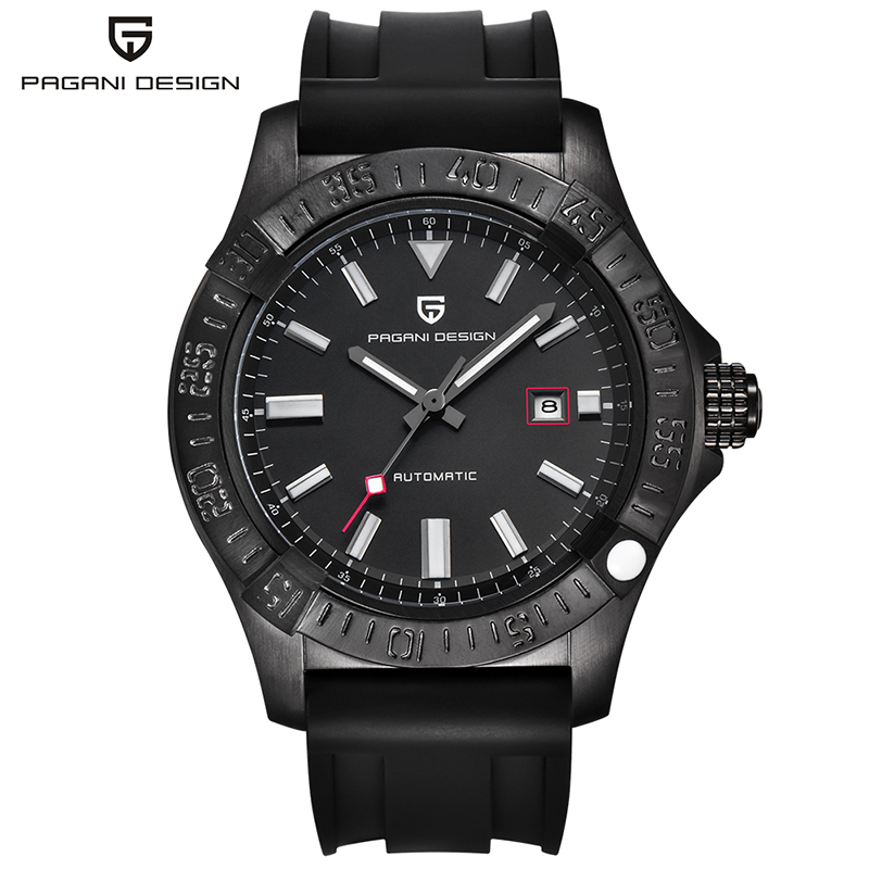PAGANI DESIGN Automatic Self-Wind Mechanical Wrist Watches for Men Auto Date Scratch Water Proof Glass Silicone Band Gift tevise fashion auto date automatic self wind watches stainless steel luxury gold black watch men mechanical t629a with tool