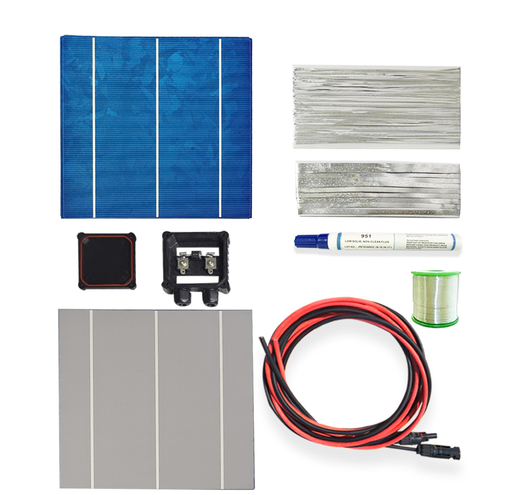 SOLARPARTS 1x 150W/18V DIY solar panel kits with 156*150mm normal polycrystalline solar cell use flux pen+tab wire+bus+connect . 40pcs 6x6 full solar cell kits 156 polycrystalline solar cells tabbing wire bus soldering iron flux pen for diy 160w solar panel