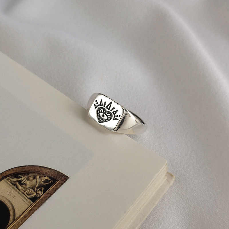 Authentic S925 Sterling Silver FINE Jewelry White Gothic Totem pattern Ring adjust TLJ647