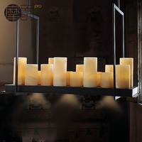 Vintage American Cafe Marble Pendant Pendant Industrial Rectangular Iron LED French Candle Chandelier