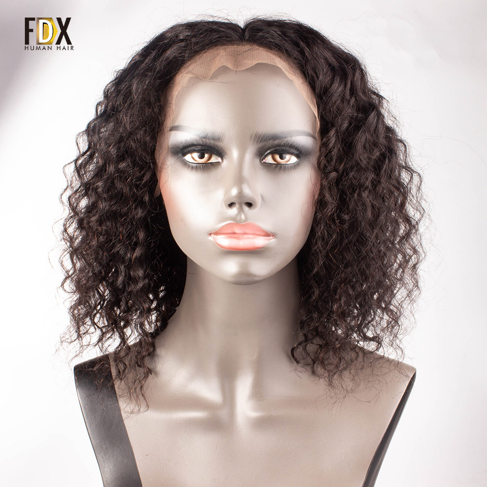FDX short deep wave human hair wig lace front wigs for black women Brazilian Nartural Color
