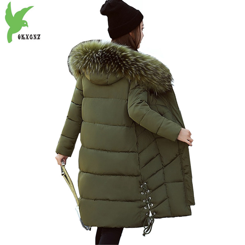 Women Winter Jacket Coats Down Cotton Students Parkas Hooded Fur Collar Medium Length Jacket Plus size Slim Outerwear OKXGNZ1086