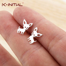 Kinitial Animal Chihuahua Baby Dog Earring Fashion Party Gold Silver Studs Earrings Accessories Jewelry For Kids Girls Cute Gift(China)