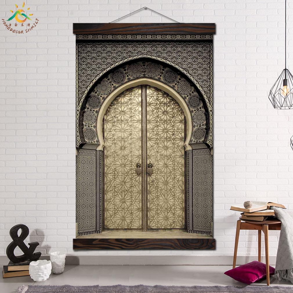Arabic Islam Royal Palace Door Modern Canvas Art Prints Poster Wall Painting Scroll Artwork Picture Home Decor