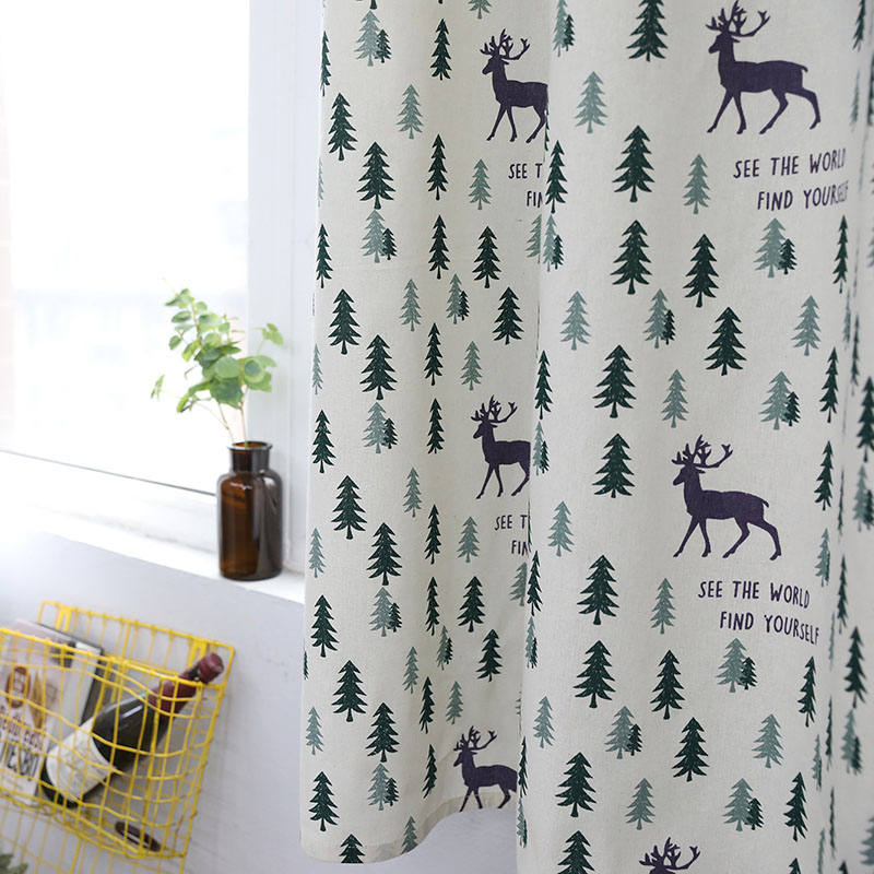 Image 4 - Nodic Style Animal Deer Tree Print Blackout Curtain Solid Cotton Window Curtain for Livingroom Bedroom Home Decoration cortina-in Curtains from Home & Garden