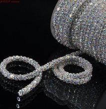 Dia.6mm Super Flash crystal Sewing on Rhinestone 1m/roll Crystal Glass Strass Crystals Stones For Clothes Crafts Decorations