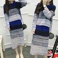 2016 новое прибытие моды полосы градиент 2 шт. набор женщин осень трикотажные пуловер растениеводство топ и юбка установить зимний свитер костюм
