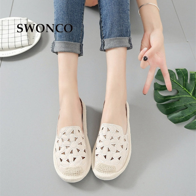 SWONCO Women's Flats Shoe Embroidery Fisherman Female Shoe 2018 Spring Summer Women Shoes Cut Out Hollow Out Casual Shoes 4