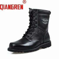 QIANGREN Military Factory direct Men's Spring Autumn Genuine Cow Leather Rubber Tactical Boots Male Trainers Safety Shoes Botas