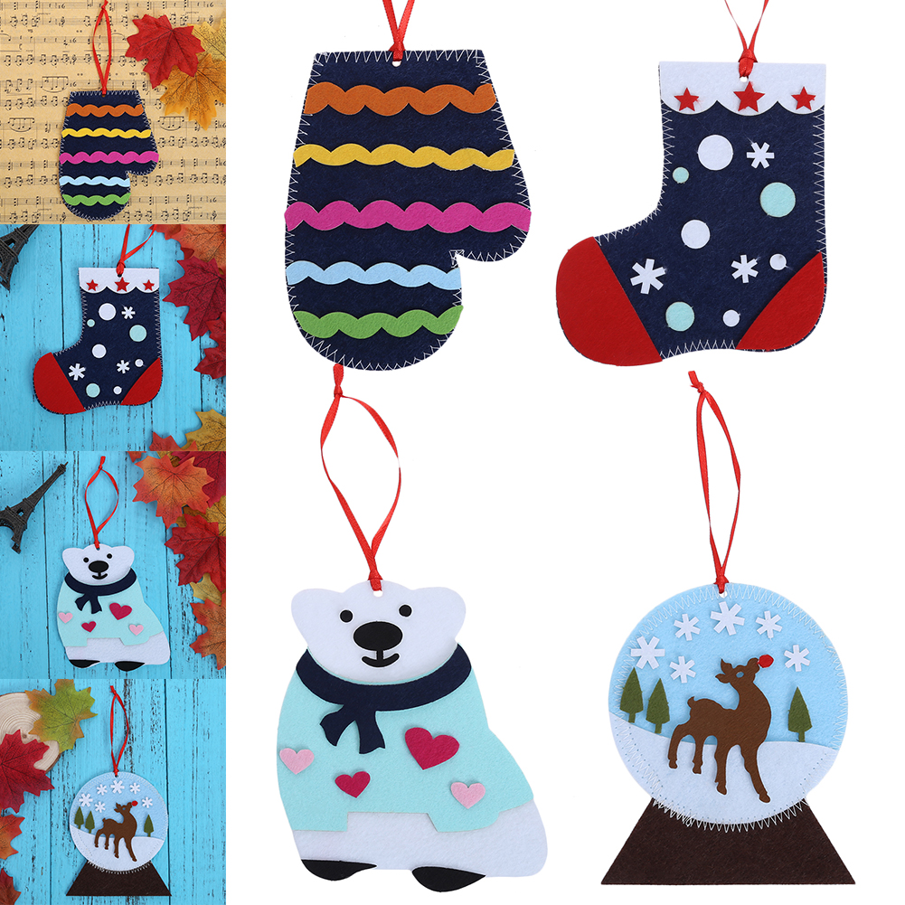 1pc Christmas Tree Ornament Handmade Diy Coaster Children Puzzle Ornaments  Christmas Party Event Cup Mat Table