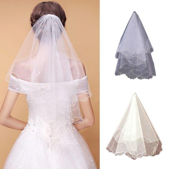 Mutiara Pernikahan Gaun Kerudung Lapisan Tulle Pita Tepi Kerudung Pengantin Wanita Aksesoris Wanita