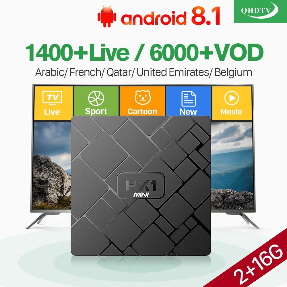 HK1 Mini Tv Box With 1 Year QHDTV Code IPTV Subscription French Arabic Belgium Morocco Qatar Vod RK3229 2GB 16GB Android 8.1 BoxHK1 Mini Tv Box With 1 Year QHDTV Code IPTV Subscription French Arabic Belgium Morocco Qatar Vod RK3229 2GB 16GB Android 8.1 Box