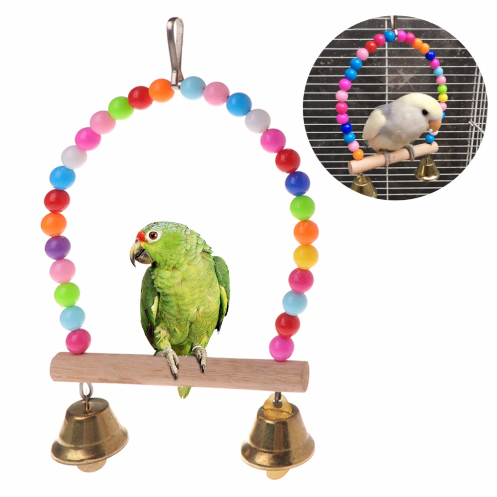 New Natural Wooden Parrots Swing Toy Birds Perch Hanging Swings Cage With Colorful Beads Bells Toys Bird Supplies