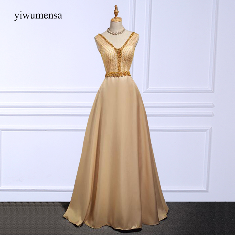 yiwumensa vestidos graduacion cortos Champagnes   Prom     dress   2018 Custom made Sexy V neck Crystal Beaded royal blue   prom     dresses