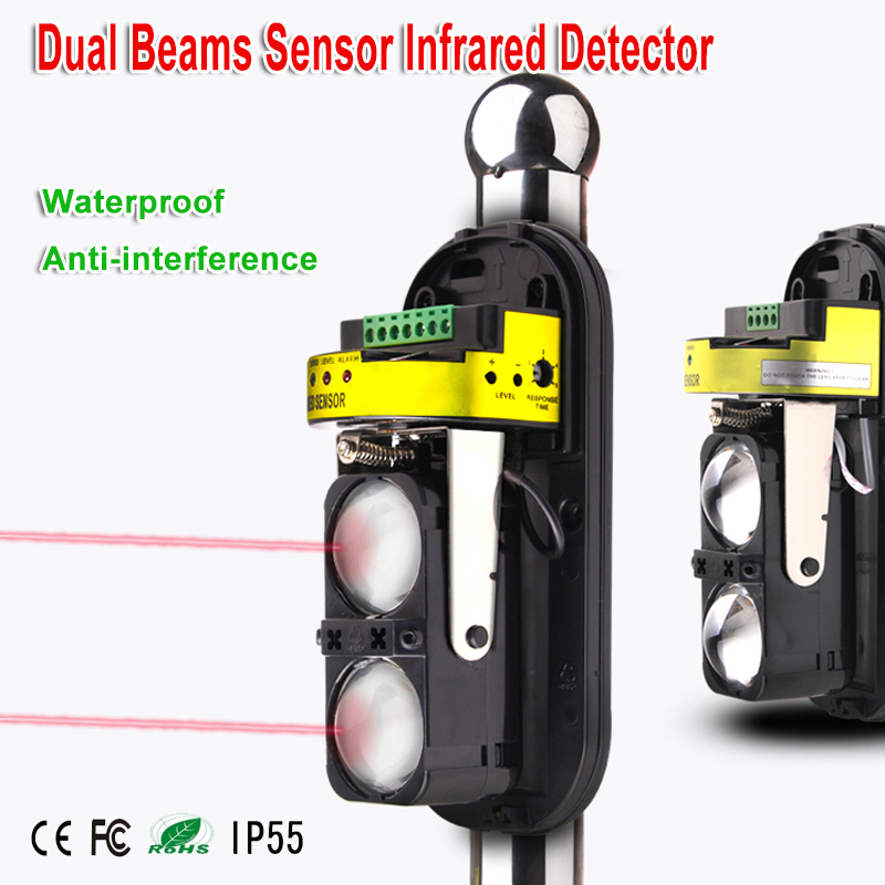 20M~150M Dual Beam Sensor Photocells Active Infrared Intrusion Detector Safety Window Wall Barrier IR Outdoor Motion Alarm