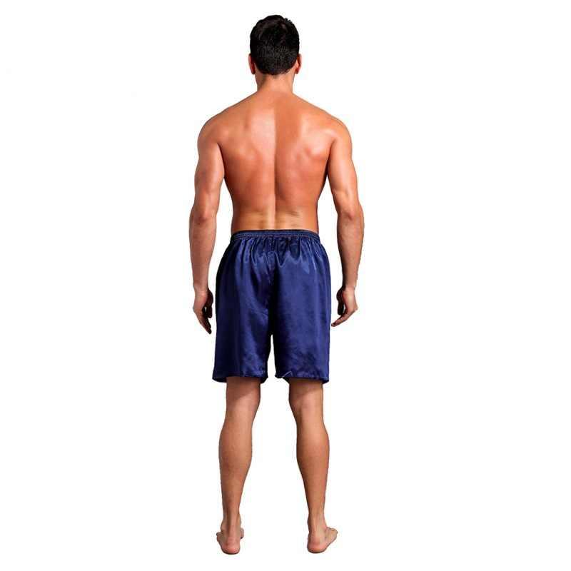 2019 Мужская сексуальная искусственная шелковая, сатиновая Пижама, свободная повседневная эластичная талия, летние шорты для сна, домашняя пижама, мужские шорты, ночное белье