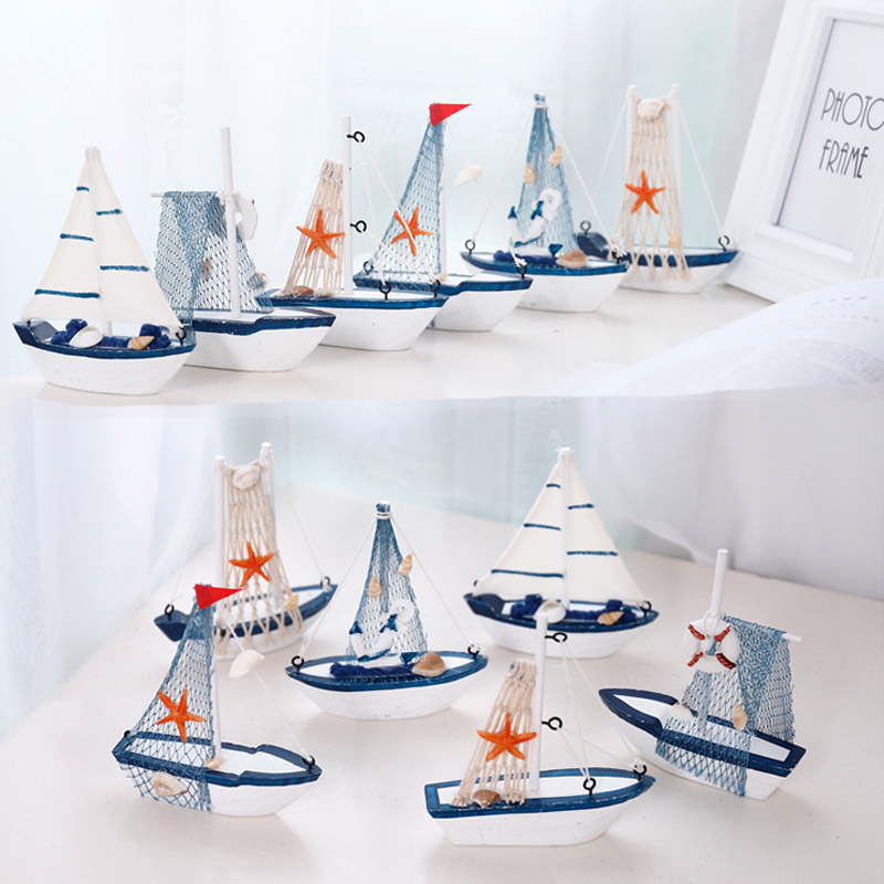 Creative:  Marine Nautical Creative Sailboat Mode Room Decor Figurines Miniatures Mediterranean Style Ship Wood Fairy Garden Party Home - Martin's & Co
