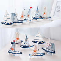 Marine Nautical personality Sailboat Mode Room Decor Figurines Miniatures Mediterranean Style Ship Wood Fairy Garden Party Home