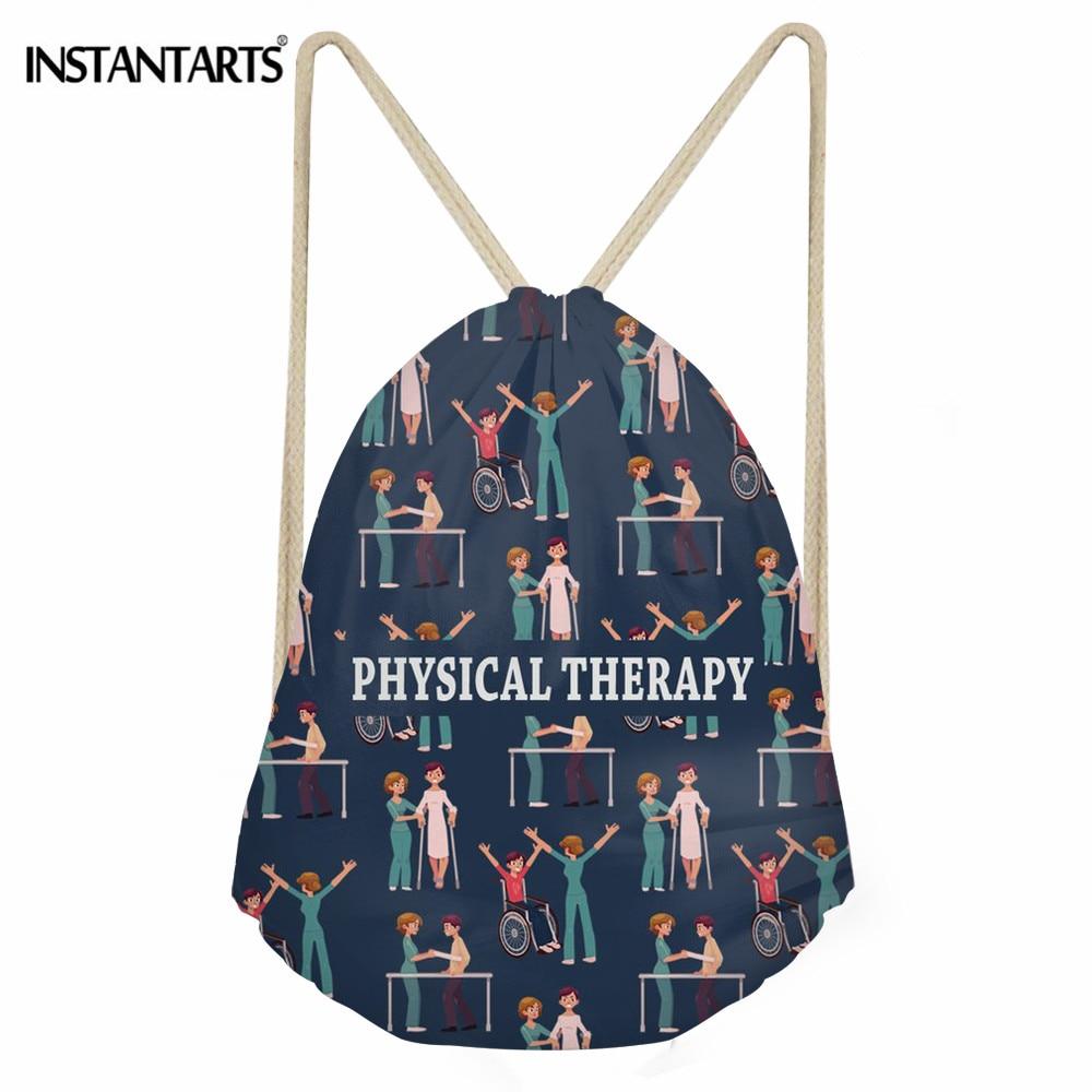 INSTANTARTS Physical Therapy Pattern Travel Drawstring Bag Women Daily Shoes Storage Bag Girls Fashion Girls String Backpack