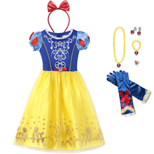 цена на Girls Snow White Cosplay Dress Princess Costume Children Flower Puff Sleeve Ball Gown Kids Birthday Halloween Party Fancy Dress
