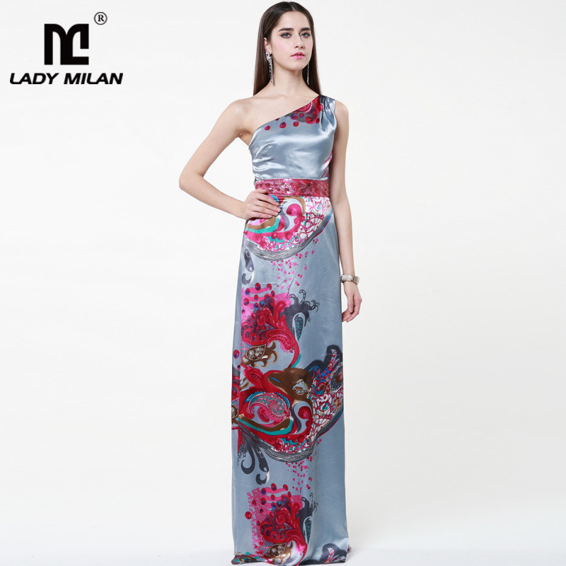 Lady Milan 2018 Womens Sexy One Shoulder Sleeveless Floral Printed Fashion Satin Party Prom Floor Length Long Dresses