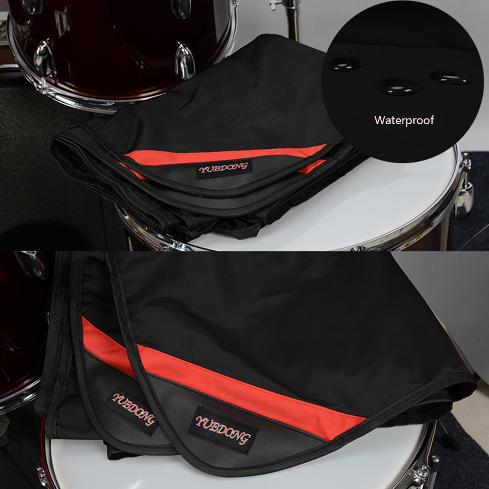 Drum Set Dustproof Cover Black Water-resistant Nylon Dust Cover with Sewn-in Weighted Corners 80x100 inch