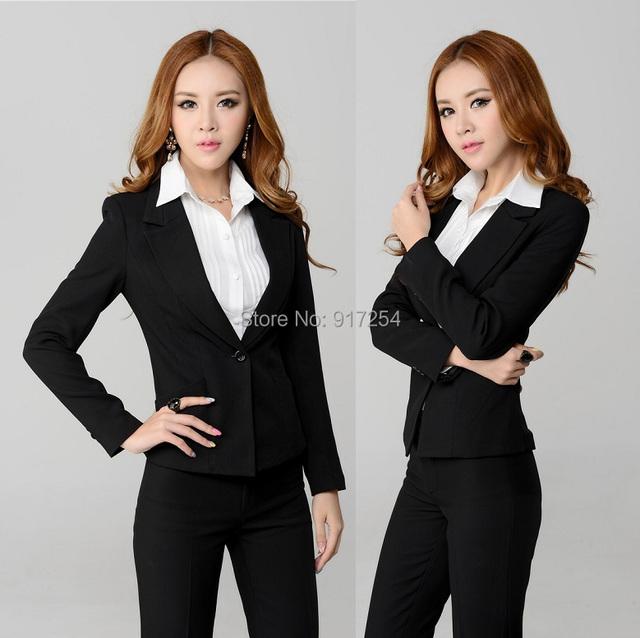 Nueva Feminino 2015 otoño invierno uniforme oficina de negocios de diseño Work Wear pantalones profesionales chaqueta y pantalones conjuntos trajes de pantalones