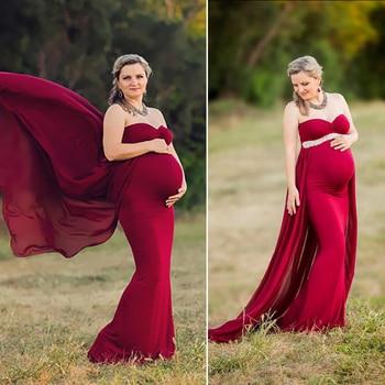 Women Dress Maternity Photography Props Chiffon Pregnancy Clothes Maternity Dresses For Photo Shoot Vestido Pregnant Gown Dress photo shoot