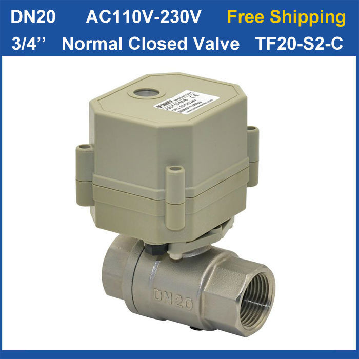 Free shipping DN20 2wires TF20-S2-C Normal Closed Stainless Steel Valve BSP/NPT 3/4'' Full Port Valve цена