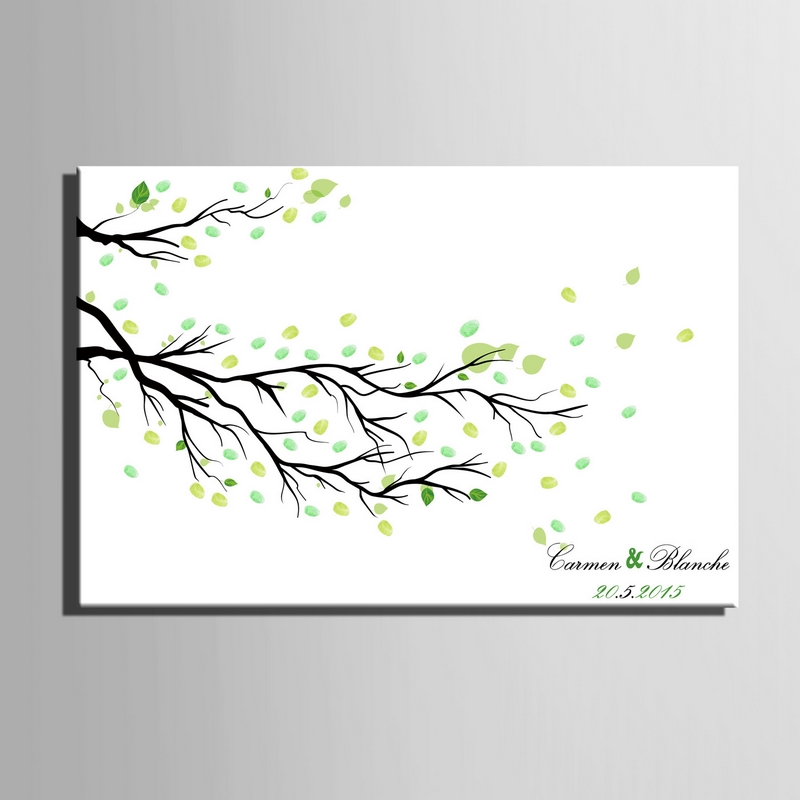 Diy Fingerprint Signature Canvas Painting Branches Leave Wedding