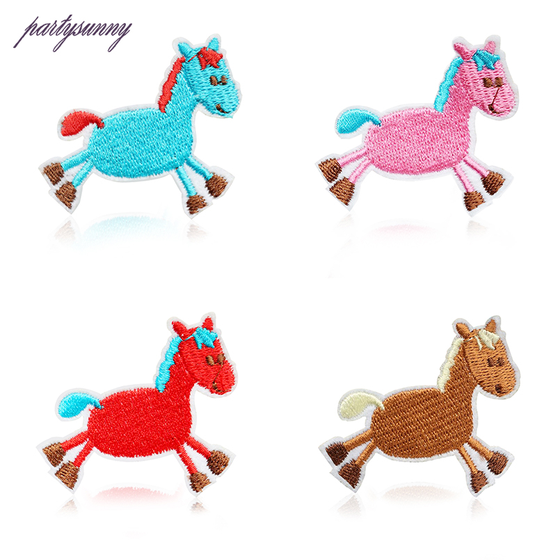 PF 4pcs/lot Stripes Horse Embroidered Patches for Clothing Cartoon Patch Thermo-stickers for Clothes Sewing Applications TB146