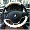 Black Genuine Leather Hand Stitched Car Steering Wheel Cover For BMW 320 Li