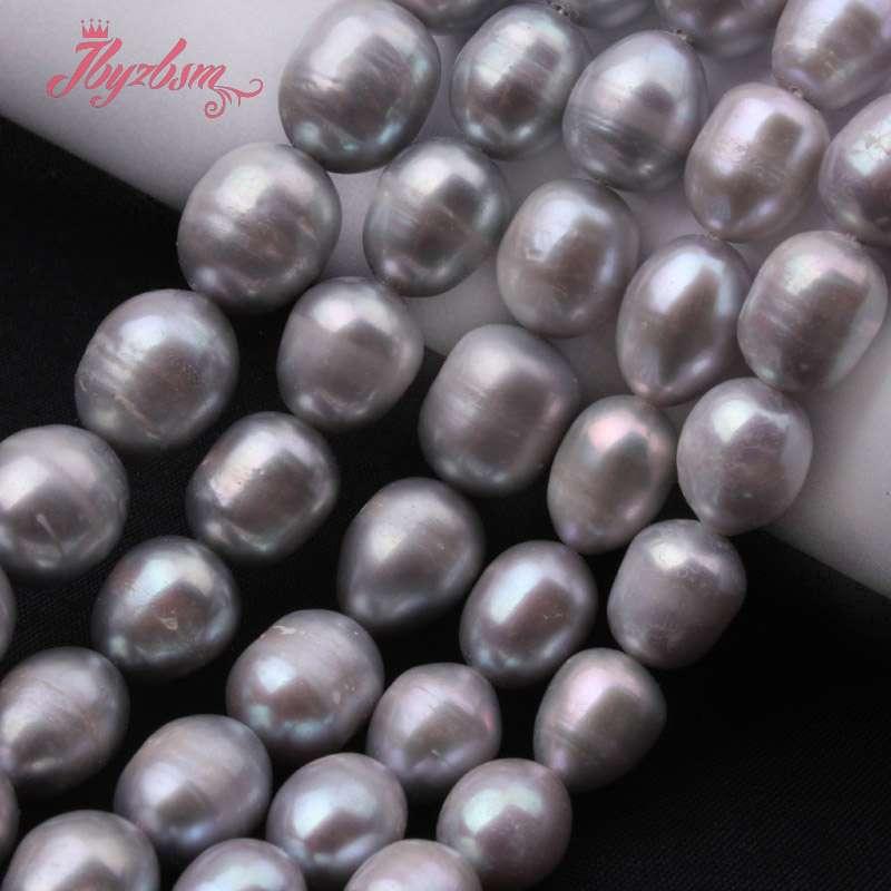 69f75cd810de 5-6 7-8 8-9 9-10 10-11mm gris Oval perlas cultivadas de piedra perlas para  DIY collar joyería haciendo 15