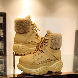 Image 4 - الشتاء موضة الأبيض أحذية نسائية عادية جلد طبيعي منصة رياضية عالية أعلى أحذية نسائية جديدة مريحة الصوف الأحذية الدافئة