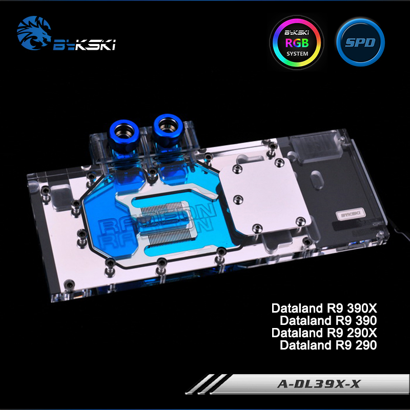 Bykski A-DL39X-X Full Cover Graphics Card Water Cooling Block RGB/RBW/ARUA for Dataland R9 390X/390/290X/290 цена
