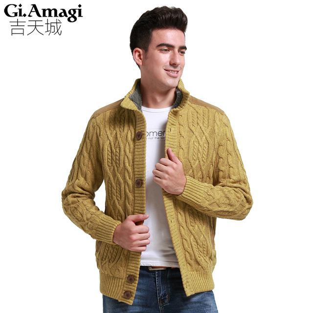 2017 brand fashion mens wool cardigan Cashmere sweaters men s thick stand  collar pullover korean slim solid 667975f0d5