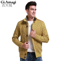 2017 Brand Fashion Mens Wool Cardigan Cashmere Sweaters Men S Thick Stand Collar Pullover Korean Slim