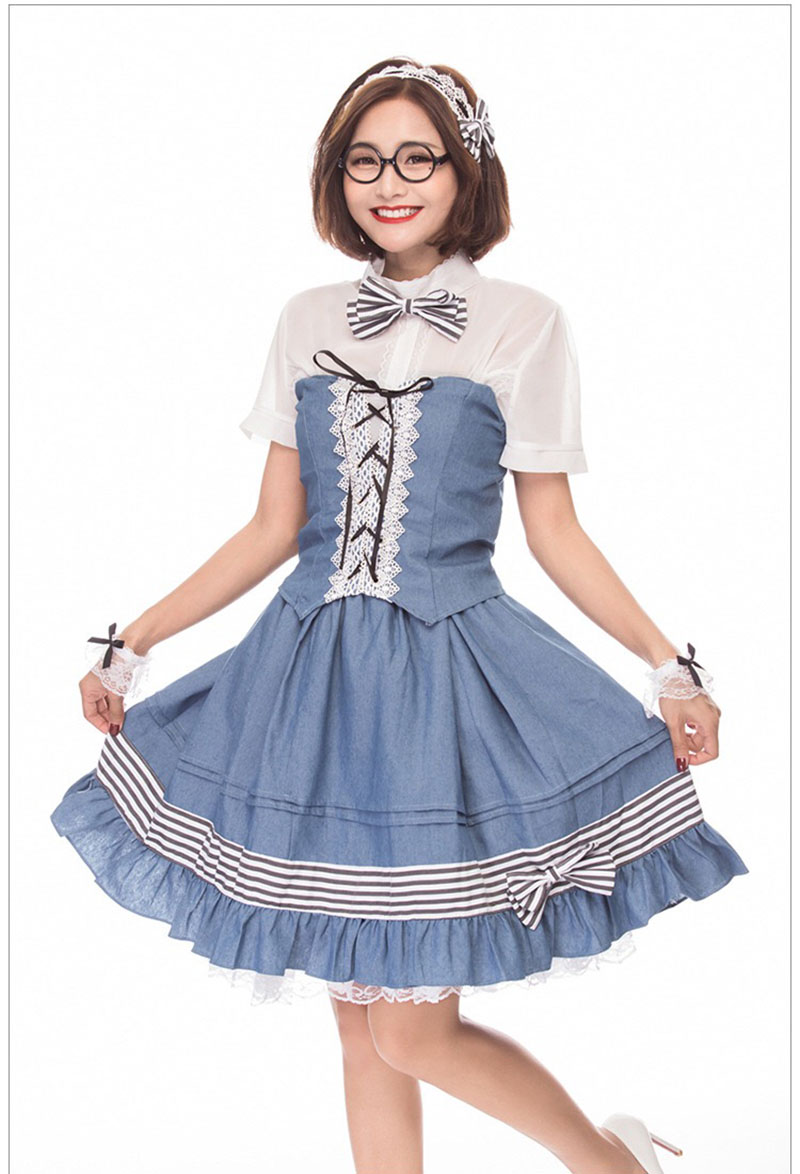 Adult Women College Students Preppy Maid Costume Short Sleeves Lace Dress Set Cosplay Anime Blue Sweet Uniform Outfit For Ladies