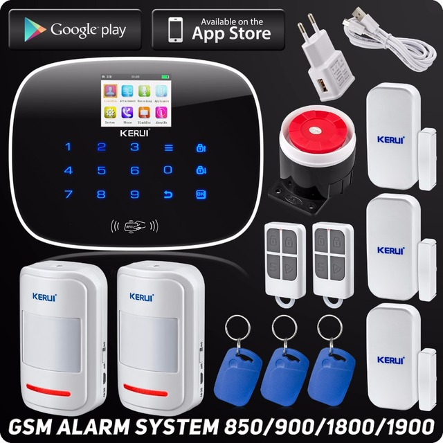 Special Price Kerui G19 Wireless Wired App Controlled LCD GSM SMS RFID Autodial Touch Keypad Home Security Alarm System Motion Sensor