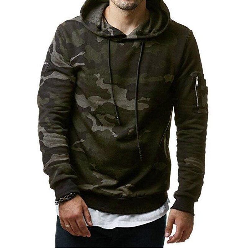 New 2018 Autumn Winter Men Fleece Sweatshirt Fashion Camo Hooded Hoodies Blank Pullover Hoody Cotton Casual Male Tops Clothes