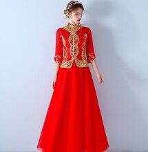 Chinese Style Brand New Elegant Hand Embroidery Cheongsam Winter Bride China Bridal Sheath Lace half Sleeves Long Bridal Gown традиционное китайское платье brand new peking cheongsam ccw005