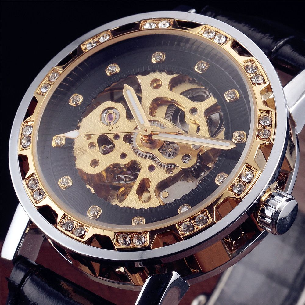 Luxury Winner Fashion Casual Retro Vintage Stainless Steel Men Mechanical Watch Diamond Automatic Skeleton Watches For Men Gift hot fashion jewelry the greatest dad retro necklace pocket watch vintage men s father birthday gift