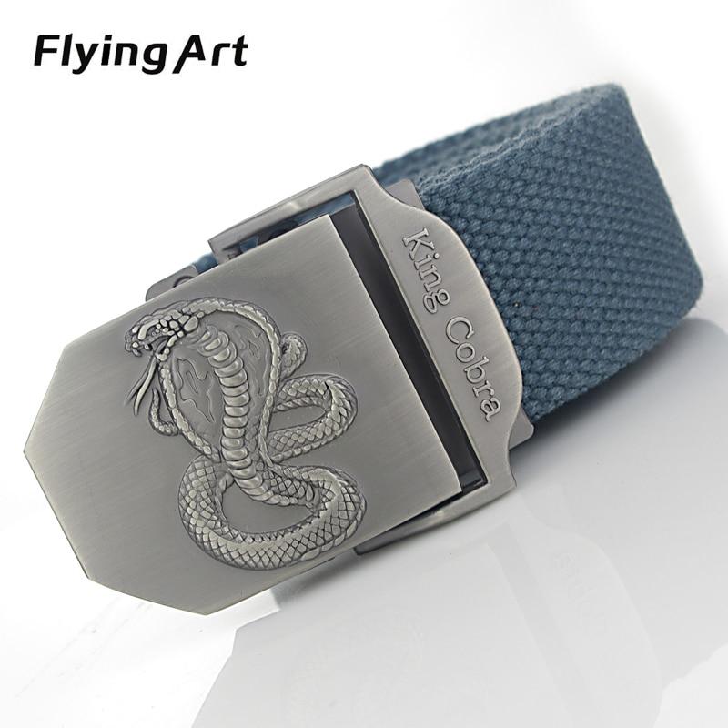 Rrip automatik kobra mbreti fluturues arti Për burrin rripa kanavacë me cilësi të lartë 4 mm të trasha 3.8 cm të gjerë, burra xhinse taktike