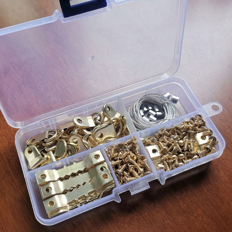D Ring Picture Photo Painting Frame Sawtooth Hanger Hook Screws Wire Rope Kits Mounted Accessories Tool