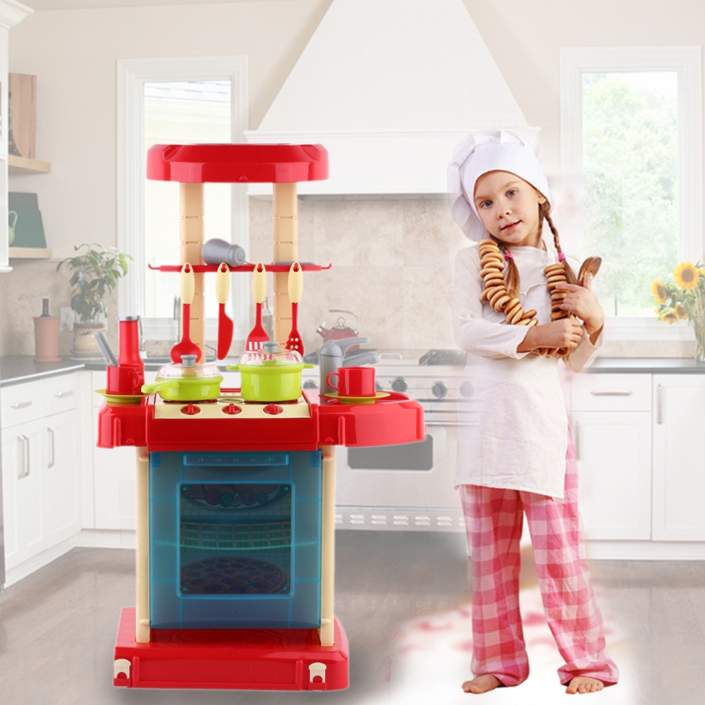 Portable Electronic Children Kids Kitchen Cooking Toy Boys Girls Cooker Set Light Sound Effect Educational Toys
