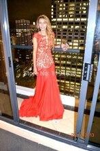 Rot 2016 Scoop Neck Formale Abendkleider Kappen-hülsen Bodenlangen Chiffon Spitze Abschlussball-kleider Freies Verschiffen Frauen Nach Maß